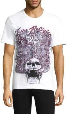True Religion Wavy Embroidered Skull Cotton Tee