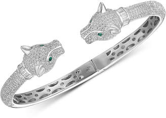 Tiara Cubic Zirconia Panther Head Cuff Bangle Bracelet in Sterling Silver
