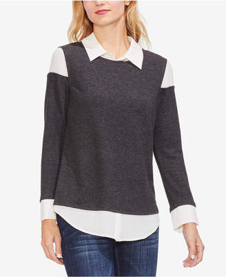 Vince Camuto Layered-Look Cold-Shoulder Top