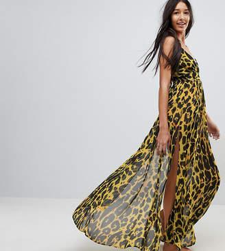 Asos Tall DESIGN TALL Cheetah Print Plunge Chiffon Maxi Beach Dress