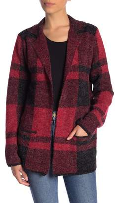 Joseph A Plaid Notch Collar Sweater Jacket (Petite)