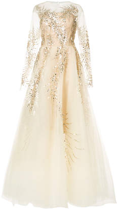 Oscar de la Renta fern embellished wedding gown