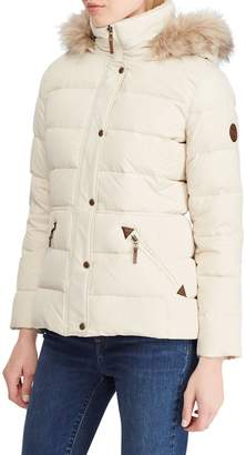 Lauren Ralph Lauren Faux Fur Trim Down Parka