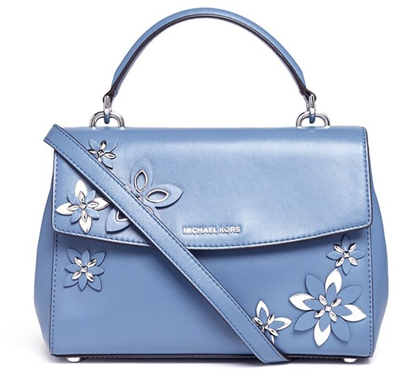 MICHAEL Michael Kors Michael Kors 'Ava' small floral embellished leather satchel