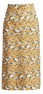 Erdem Women's Gainor Floral Embroidered Button Front Pencil Skirt