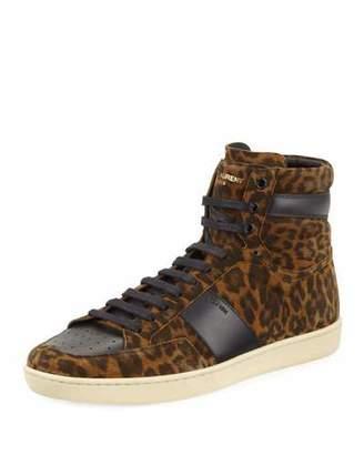 Saint Laurent SL/10H Leopard Suede High-Top Sneaker $695 thestylecure.com