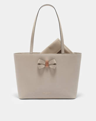 Ted Baker CATTAS Bow detail small leather shopper bag