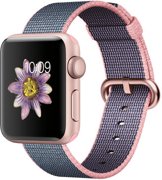 Apple Watch Series 2 38mm Rose Gold Aluminum Case with Light Pink/Midnight Blue Woven Nylon Band $369 thestylecure.com