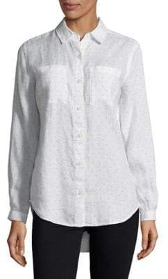 Lord & Taylor Tiffany Dotted Linen Shirt