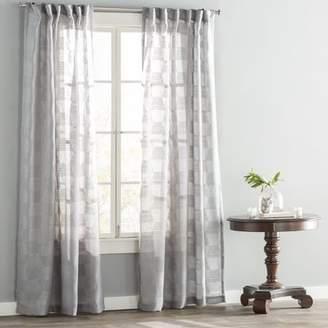 Langley Street Eleanor Jacquard Geometric Sheer Tab Top Single Curtain Panel