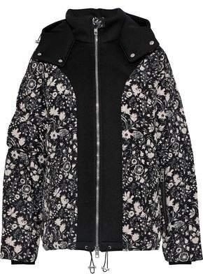 Antik Batik Blanche Neoprene-paneled Floral-print Shell Hooded Coat