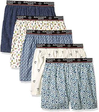 Badger Smith Men's 5 - Pack Cotton Print color Boxer Shorts L
