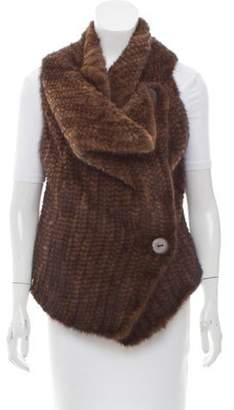 Adrienne Landau Knit Mink Fur Vest Brown Knit Mink Fur Vest