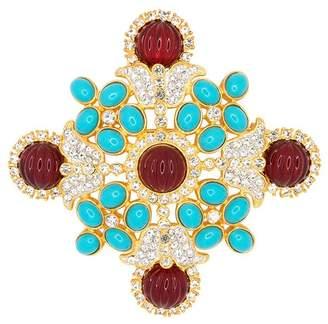 Kenneth Jay Lane Gold/Crystal Maltese Cross Pin