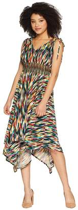 Maggy London Rainbow Ikat Printed Jersey Hi Low Maxi with Ruched Shoulder Detail Women's Dress