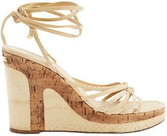 Louis Vuitton Beige Python Sandals