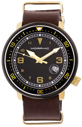 Morphic M58 Series Nato Leather-Band Watch w/ Date - Gold/Dark Brown