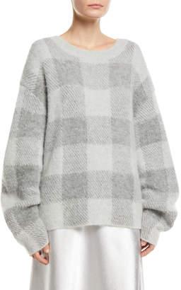 Vince Plaid Crewneck Mohair-Blend Pullover Sweater
