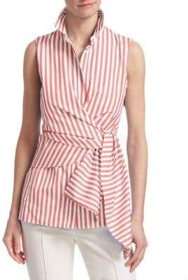 Akris Punto Striped Sleeveless Wrap Shirt
