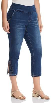 Jag Jeans Plus Naomi Studded Cropped Jeans in Medium Indigo