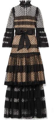 Anna Mason - Tiered Swiss-dot Tulle Maxi Dress - Black