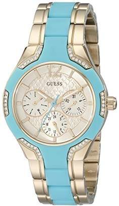 GUESS Women's U0556L6 Stainless Steel Gold-Tone & Turquoise Multi-Function Watch with Day