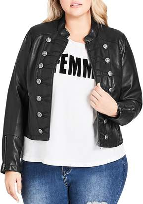 City Chic Plus Faux Leather Military Jacket