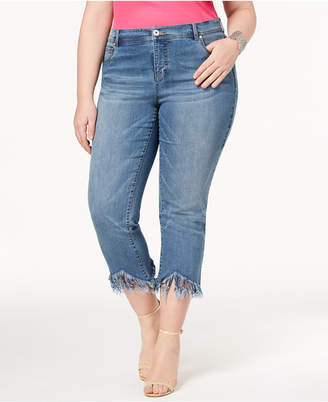 INC International Concepts I.n.c. Plus Size Fringe-Hem Cropped Jeans, Created for Macy's