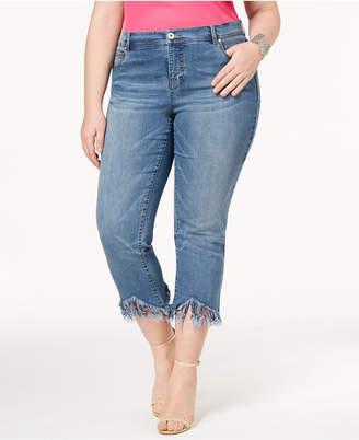 INC International Concepts I.n.c. Plus Size Fringe-Hem Cropped Jeans, Created for Macy's