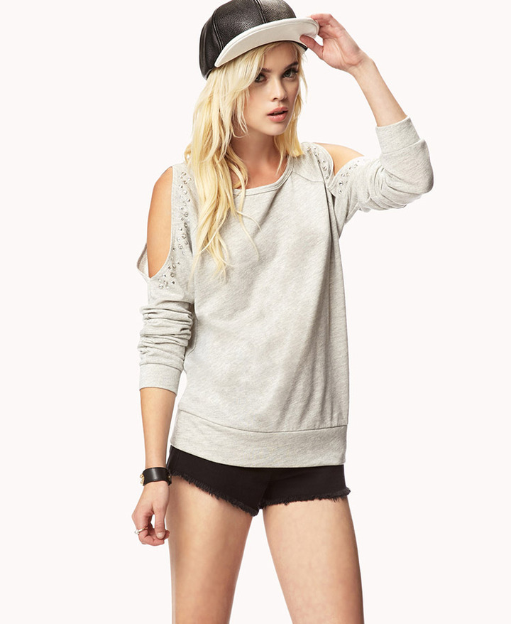 Forever 21 Bejeweled Cutout Sweatshirt
