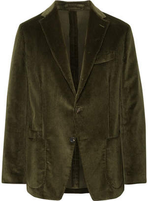Drakes Drake's - Dark-Green Slim-Fit Cotton-Corduroy Blazer - Dark green