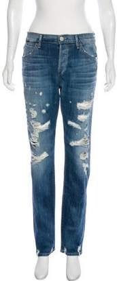 Gold Sign Distressed Mid-Rise Straight Jeans