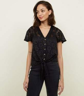 New Look Black Lace Button Tie Front Top d7edfdafd