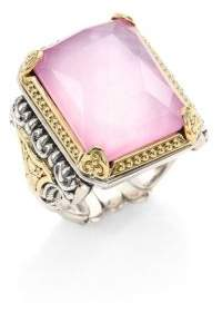 Konstantino Iliada Pink Mother-Of-Pearl, Quartz Doublet, 18K Yellow Gold & Sterling Silver Rectangle Ring