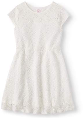 Wonder Nation Girls' Lace Cap Sleeve Dress