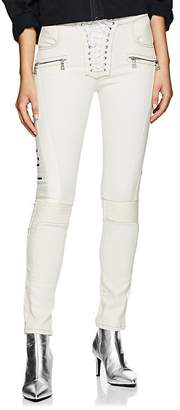 Taverniti So Ben Unravel Project Women's Logo Denim & Leather Motorcycle Pants