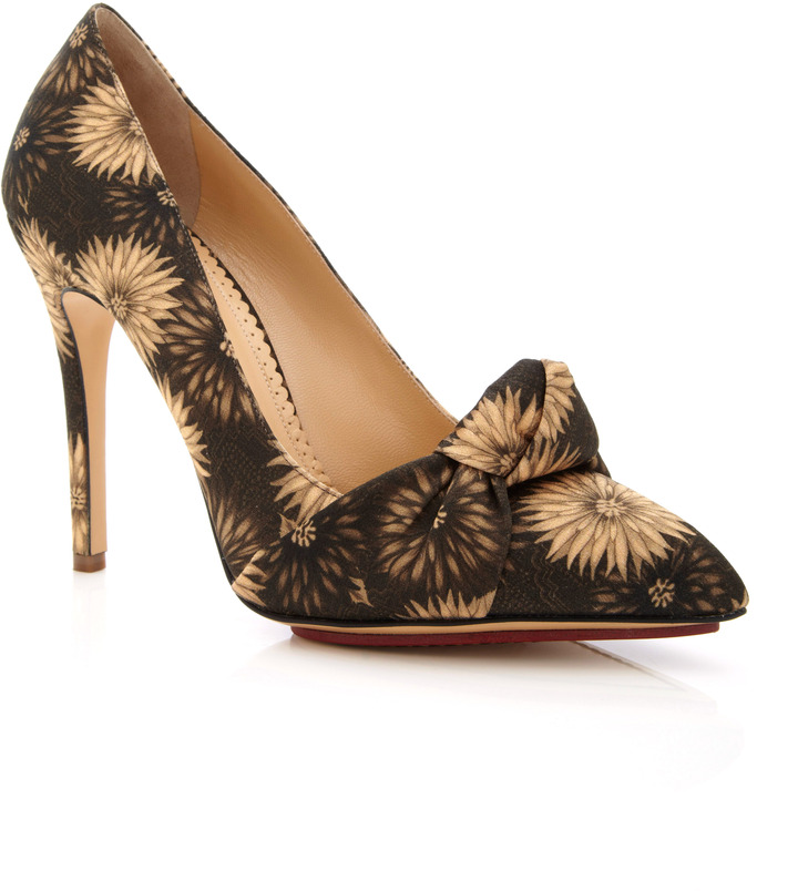 Charlotte Olympia Dhalia Ava Floral Printed Satin Pumps