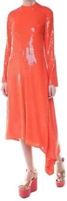 MSGM Sequin-embellished Asymmetric-hem Midi Dress