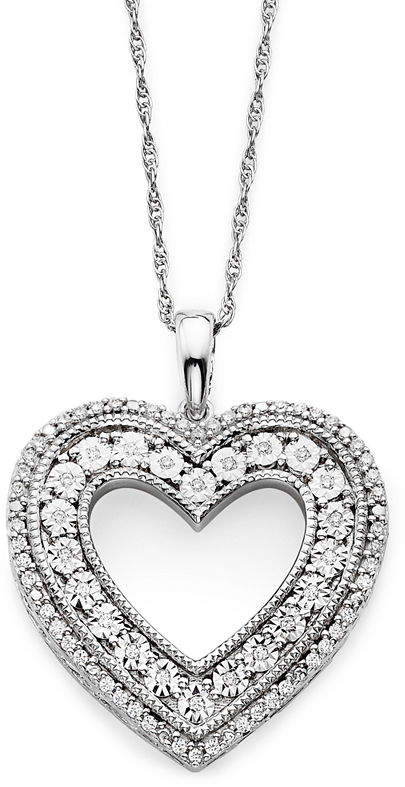 JCPenney FINE JEWELRY 1/10 CT. T.W. Diamond Sterling Silver Heart Pendant Necklace