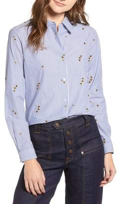 Scotch & Soda Relaxed Fit Star Detail Stripe Cotton Blouse