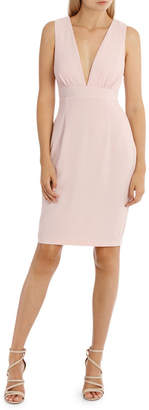 Plunged Rouched Bodycon Dress Pink