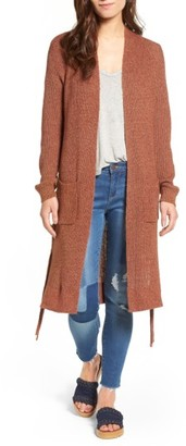 Women's Sun & Shadow Lace-Up Longline Cardigan $69 thestylecure.com