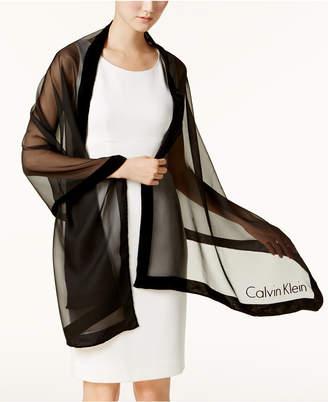 Calvin Klein Velvet-Border Evening Wrap