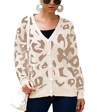 KIRUNDO 2019 Women's Winter Autumn Sweater Coat Long Sleeves V Neck Button Up Knitted Cute Leopard Cardigan (
