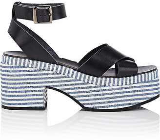 Barneys New York Women's Striped-Platform Leather Crisscross-Strap Sandals $285 thestylecure.com