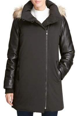 DKNY Faux Fur-Trimmed Hooded Down Jacket