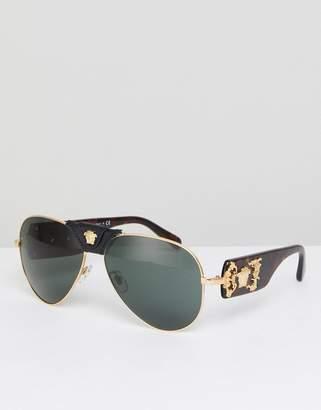 Versace Aviator Sunglasses With Detachable Medusa