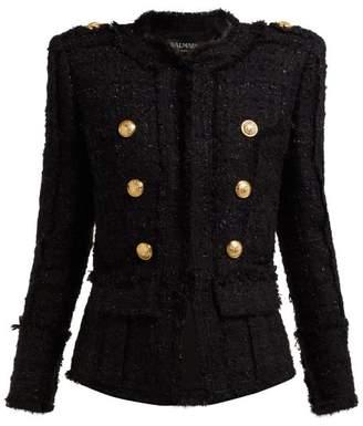 Balmain Double Breasted Tweed Jacket - Womens - Black