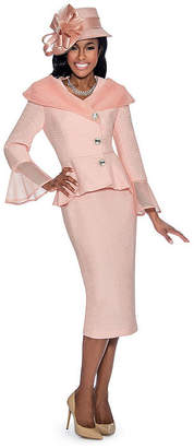 GIOVANNA COLLECTION Giovanna Collection Women's Peplum 2-piece Textured Suit with Netting Trim - Plus