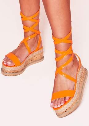 da6aa09d4f0 Missy Empire Missyempire Jolene Neon Orange Tie Up Espadrille Platform  Sandals
